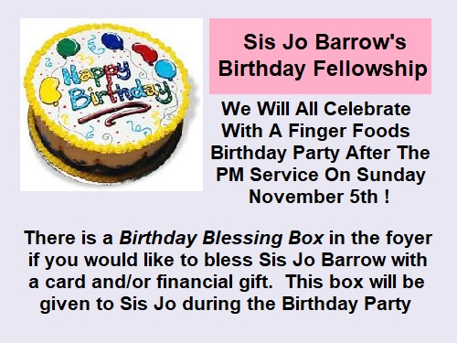 Jo Barrow's Birthday Fellowship @ True Grace Fellowship Church