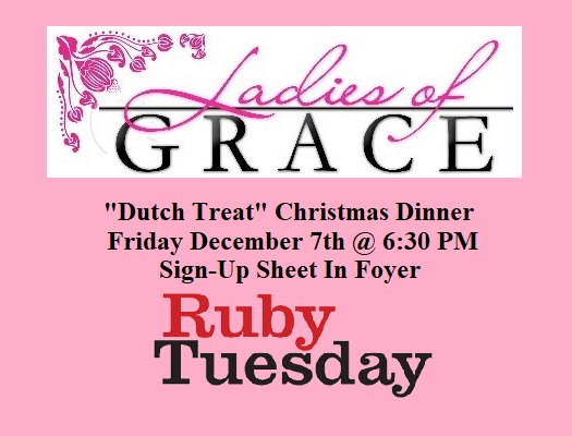 Ladies Of Grace Christmas @ Ruby Tuesday