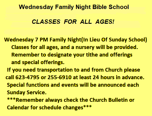 Family Night Bible Classes @ True Grace Fellowship Church